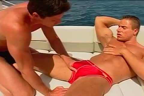 Fervent chocolate hole pumping on the yacht with muscled males