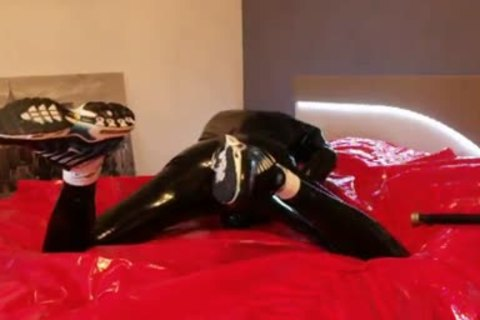young stroking In darksome Latex sleazy Very Very large dick