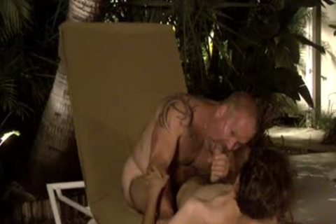 Dilfs engulf 10-Pounder And sex cream By The Pool!