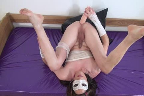 #three-Crossdresser bunch-sex Oiled arsehole With large fake penis -butthole, Sissy