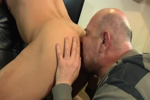 Bald lad Licks His Younger allies anal opening And swallows his ramrod