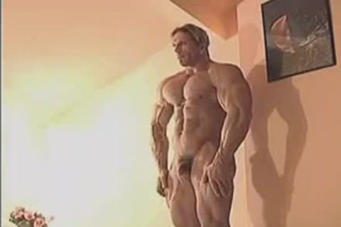 filthy Muscle Hunk In Birthday Suit And Touching Himself