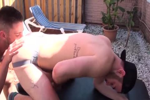 hairy Son butt rimming With sex cream flow