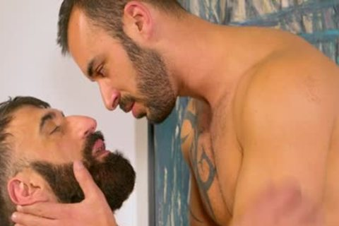 Bearded hirsute Muscle Bear blows Some Tool blows Some Bum For A admirable Facial