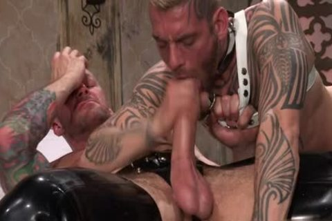 Tattoo'd Muscle Beefcakes With Bum Love Behind banging Fetish lick ramrod And Take A ejaculation