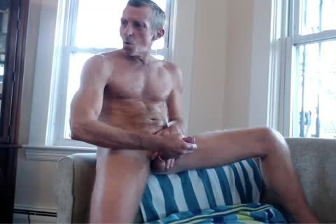 Exhibitionist daddy Strokes By The Window