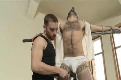 hairy guy Is fastened Up For The First Time And Edged