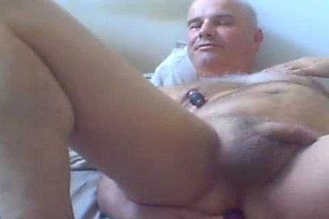 old chap Love Ventouse On nipples And sex-dildo In ass