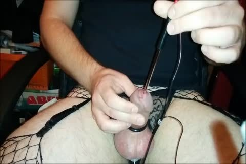 delicious guy In lingerie Cums Twice Electro E-Stim Urethral Sounding