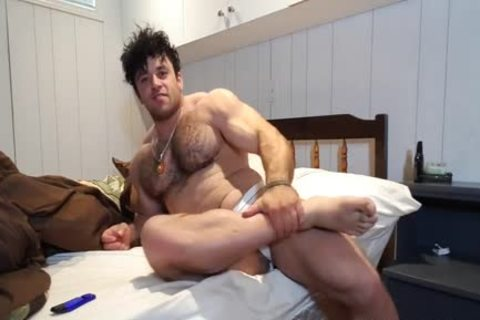 hairy Muscle Bear Jerks Off