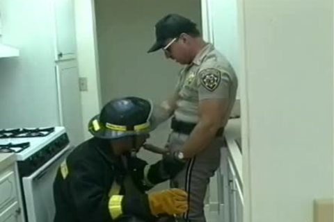 Police Office And Fireman Do bawdy Things In The Kitchen