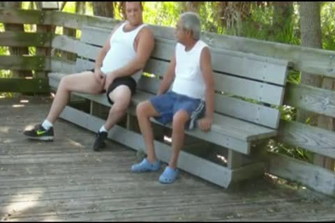 outdoors Scenes Where older man Sucks & gets pounded By bulky