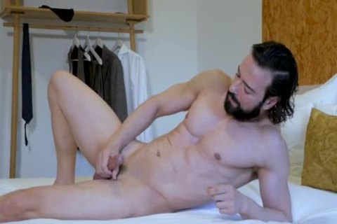 horny Suited lad jerking off & anal Play