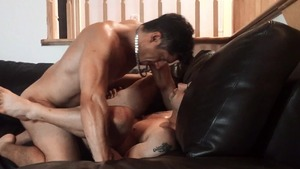 Pierre Fitch gets plowed bare On A Leather couch - American Hook up