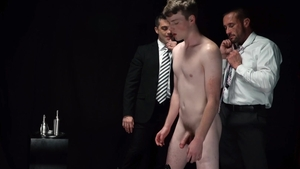Missionary Boys - Elder Campbell in shorts jerking penis