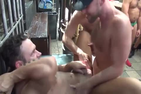 MusclePup Logan Moore acquires gang team-fucked Barebacked nail