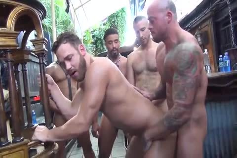 MusclePup Logan Moore receives gang nailed Barebacked nail