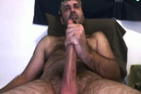 Daddy Bear jerking off His 10 Inches 10-Pounder And Cumming