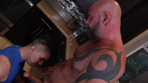 Family Creep: Gay Adrian Suarez jerking AJ Marshall huge penis