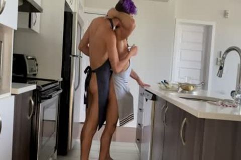 in nature's garb Cook acquires His taut butthole fucked On The Kitchen Counter