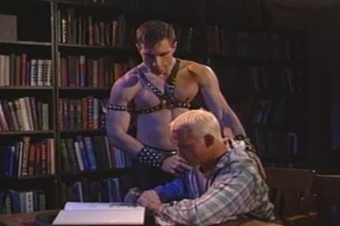 Leather Daddy Dominating a blond